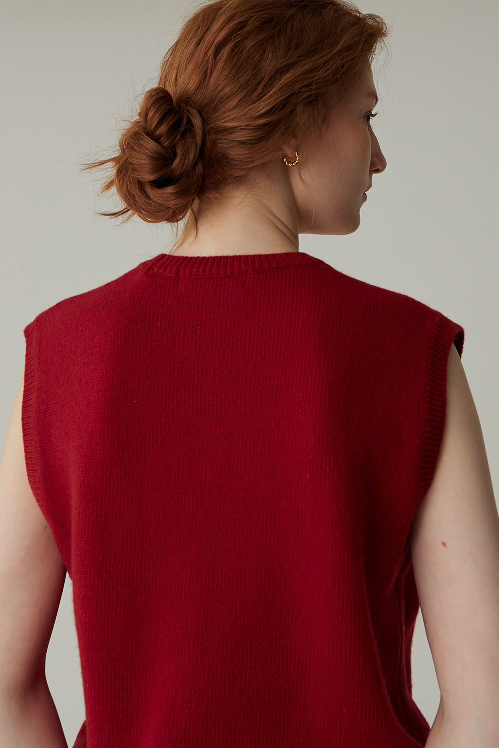 CASHMERE BLENDED VEST (D/RED)